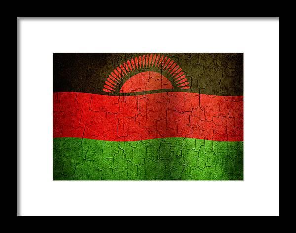 Aged Framed Print featuring the digital art Grunge Malawi Flag by Steve Ball