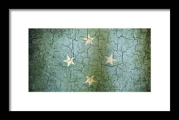 Aged Framed Print featuring the digital art Grunge Micronesia Flag by Steve Ball