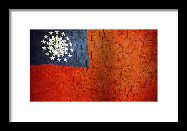 Aged Framed Print featuring the digital art Grunge Myanmar Flag by Steve Ball