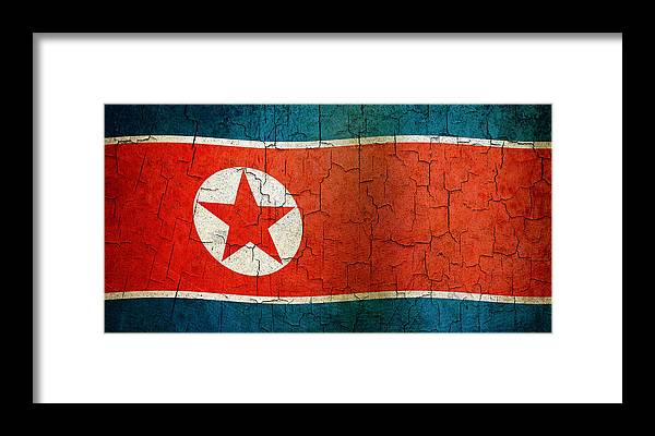 Aged Framed Print featuring the digital art Grunge North Korea Flag by Steve Ball