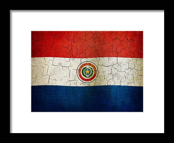 Aged Framed Print featuring the digital art Grunge Paraguay Flag by Steve Ball