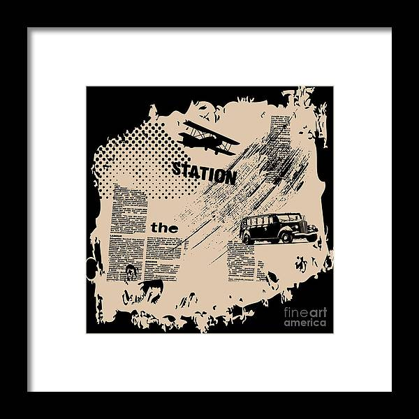 Newspaper Framed Print featuring the digital art Grunge Vector Background by Elanur Us