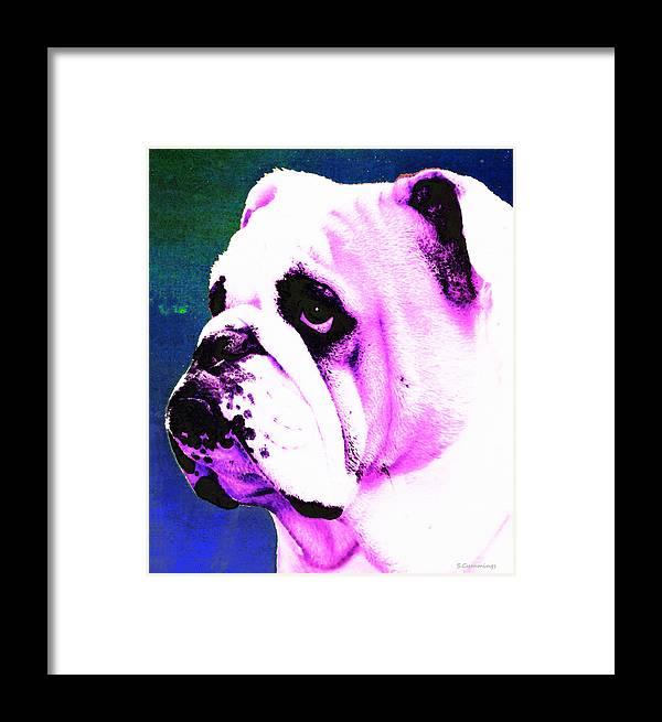 Dog Framed Print featuring the painting Grunt - Bulldog Pop Art By Sharon Cummings by Sharon Cummings
