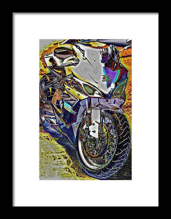 Motorcycle Prints Framed Print featuring the photograph Gsxr Color by Joe Bledsoe