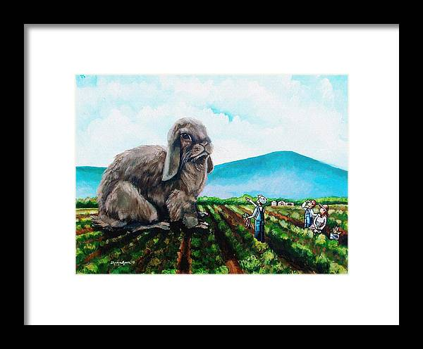Bunny Framed Print featuring the painting Guard The Carrots by Shana Rowe Jackson