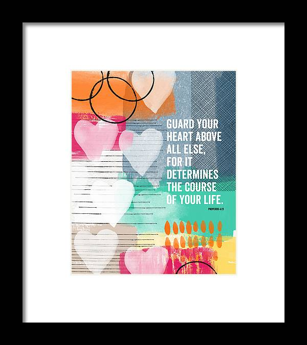Proverbs Framed Print featuring the mixed media Guard Your Heart- Contemporary Scripture Art by Linda Woods