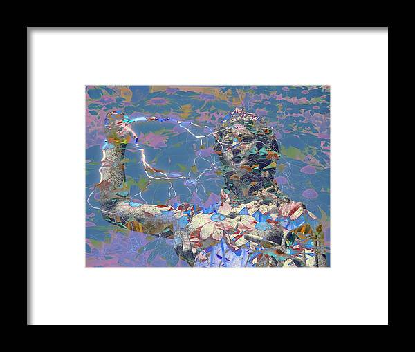 Gravestone Statue Framed Print featuring the digital art Guardian Of The Bygone I by Devalyn Marshall