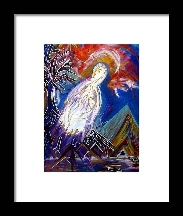 Bird Framed Print featuring the painting Guardian Of The Triangle Door by Darryl Kravitz