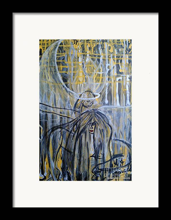 Figurative-abstract Framed Print featuring the painting Guardian Whisper by Adriana Garces
