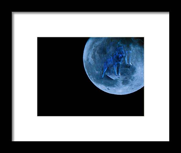 Guardian Framed Print featuring the photograph Guardian Wolf In The Moon by Ashley Maples