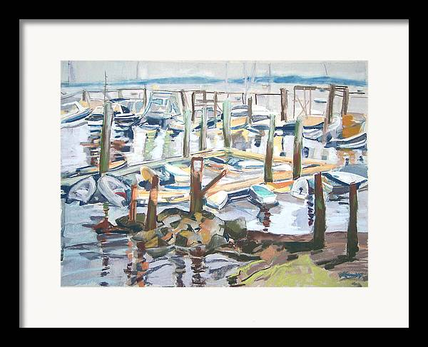 Maine Framed Print featuring the pastel Guardians Of The Harbor by Grace Keown