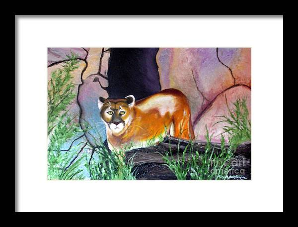 Big Cats Framed Print featuring the painting Guarding The Cave by Lora Duguay