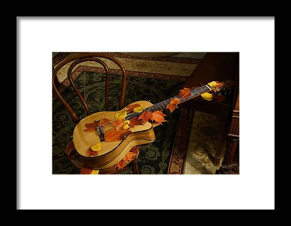 Guitar Framed Print featuring the photograph Guitar Autumn 1 by Mick Anderson