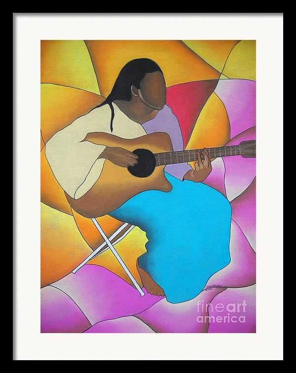 African American Art Framed Print featuring the drawing Guitar Player by Sonya Walker