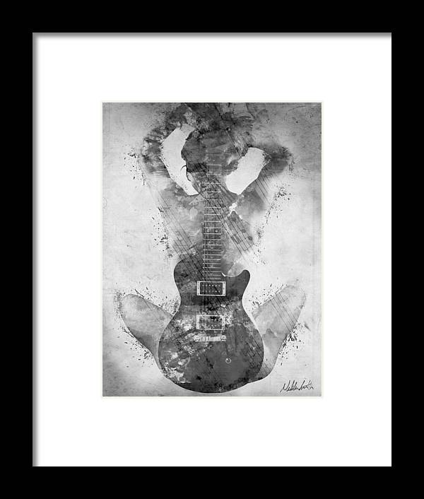 Guitar Framed Print featuring the digital art Guitar Siren in Black and White by Nikki Smith