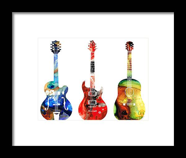 Guitar Framed Print featuring the painting Guitar Threesome - Colorful Guitars By Sharon Cummings by Sharon Cummings