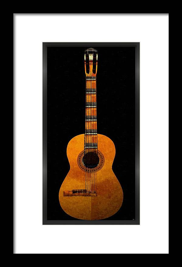 Guitar Framed Print featuring the mixed media Guitar... by Tim Fillingim