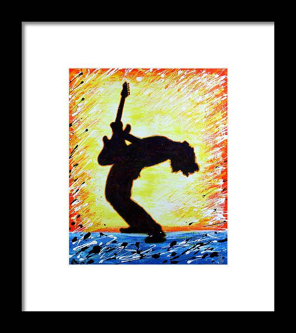Guitar Framed Print featuring the painting Guitarist Rockin' Out Silhouette by Bob Baker