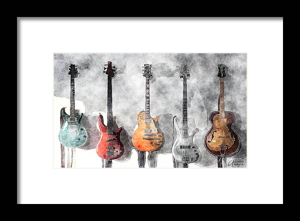 Guitar Framed Print featuring the mixed media Guitars On The Wall by Arline Wagner