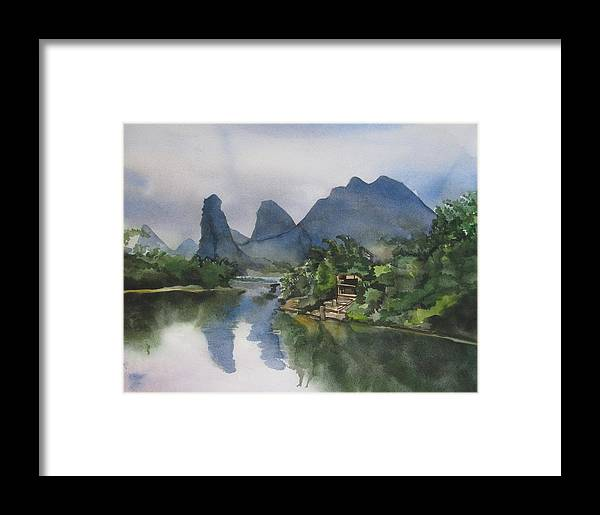 Watercolor Framed Print featuring the painting Gulin Reflection by Alfred Ng