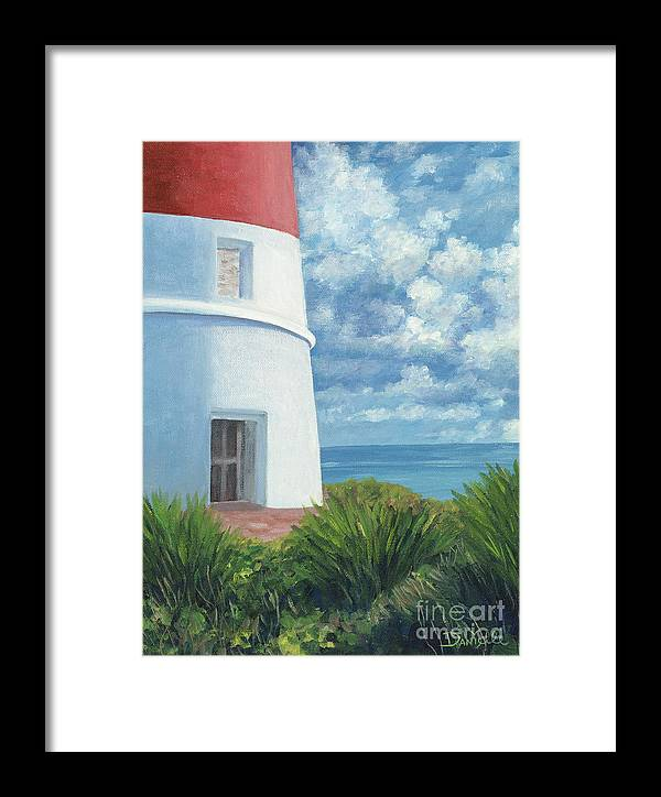 Seascape Framed Print featuring the painting Gun Cay Lighthouse by Danielle Perry