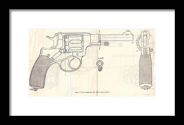 Gun Framed Print featuring the drawing Gun by Oleg Konin