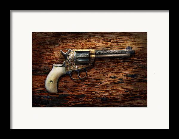 Police Framed Print featuring the photograph Gun - Police - True Grit by Mike Savad