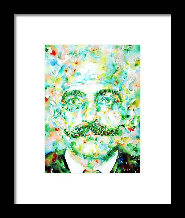 Gurdjieff Framed Print featuring the painting Gurdjieff- Watercolor Portrait by Fabrizio Cassetta