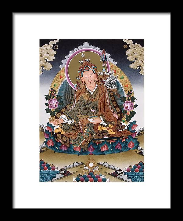 Guru Rinpoche Framed Print featuring the painting Guru Rinpoche Thangka Art Canvas by Ts