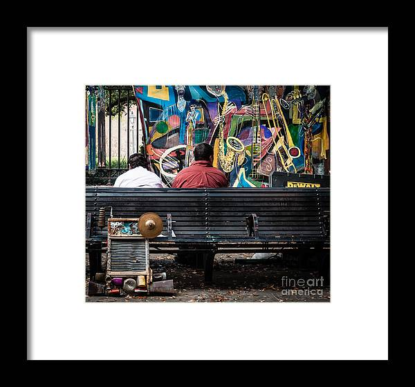 Bench Framed Print featuring the photograph Guys On A Bench - Jackson Square by Kathleen K Parker