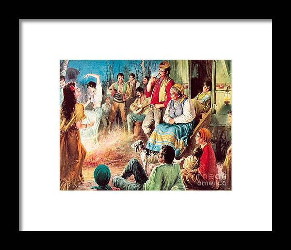 Gypsies Framed Print featuring the painting Gypsies Partying by English School