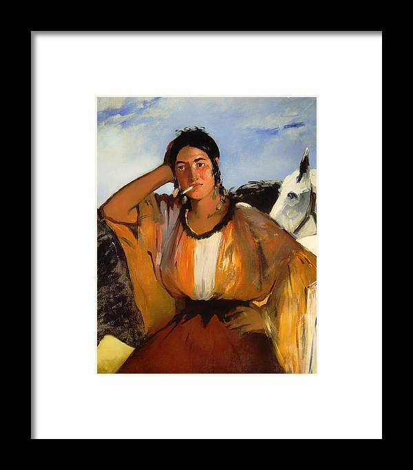 Painting Framed Print featuring the painting Gypsy With A Cigarette by Mountain Dreams