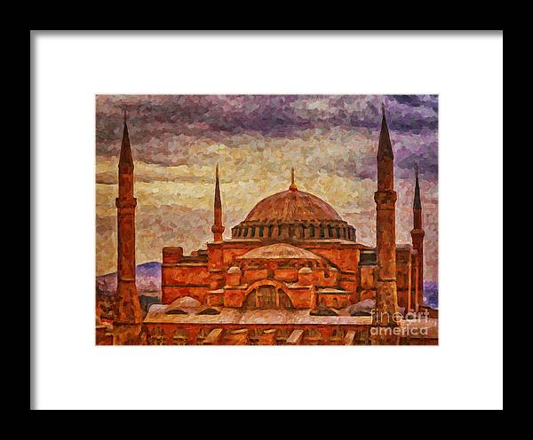 Digital Framed Print featuring the painting Hagia Sophia Digital Painting by Antony McAulay