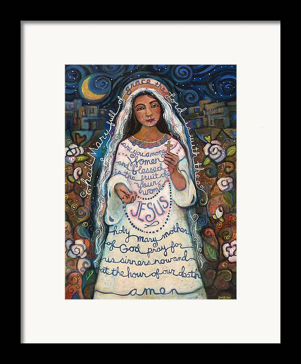 Jen Norton Framed Print featuring the painting Hail Mary by Jen Norton