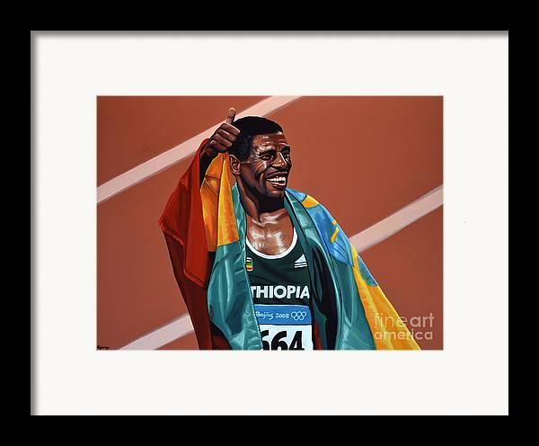 Haile Gebrselassie Framed Print featuring the painting Haile Gebrselassie by Paul Meijering