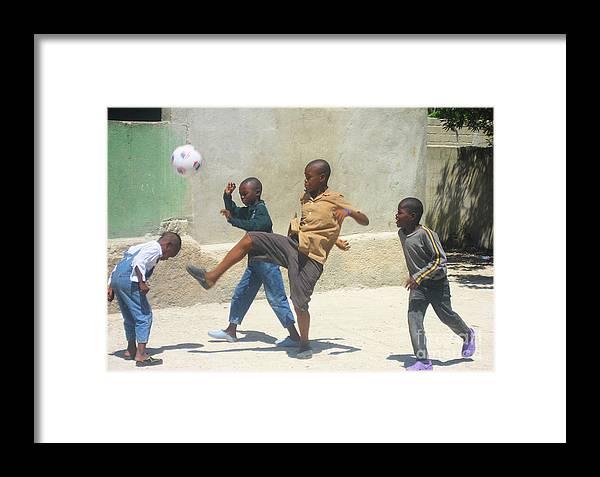 Haiti - Soccer Framed Print featuring the photograph Haitian Boys Playing Soccer by Steven Baier