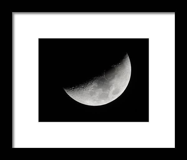 Moon Framed Print featuring the photograph Half Moon by Cathy Jourdan