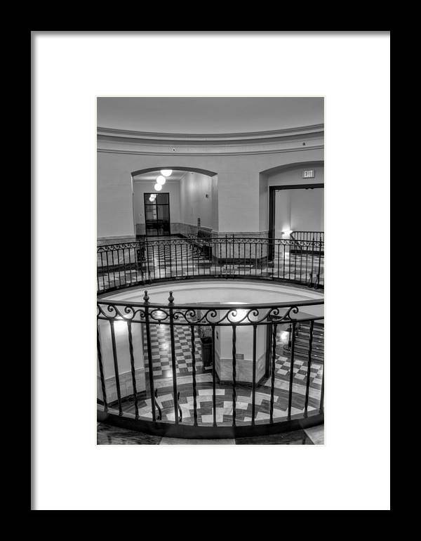Cherokee County Courthouse Rotunda Framed Print featuring the photograph Hall And Stairs In Black And White by Greg Mimbs