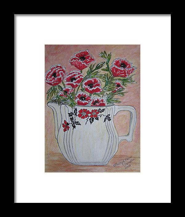 Hall China Framed Print featuring the painting Hall China Red Poppy And Poppies by Kathy Marrs Chandler