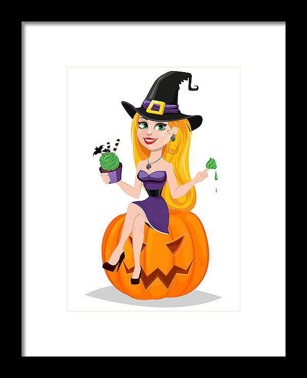 People Framed Print featuring the drawing Halloween Greeting Card.  Beautiful Lady Witch Wearing Pilgrim Hat cd9d3761f29