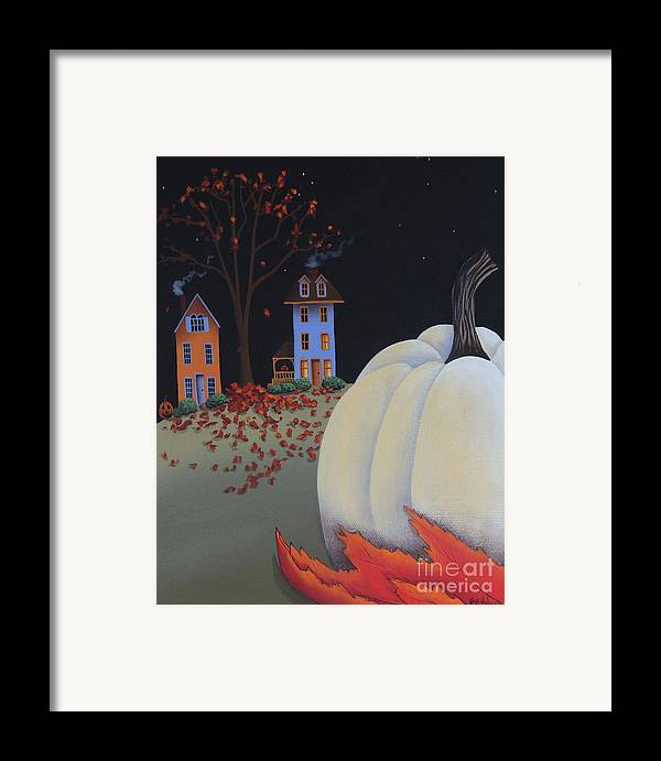 Art Framed Print featuring the painting Halloween On Pumpkin Hill by Catherine Holman