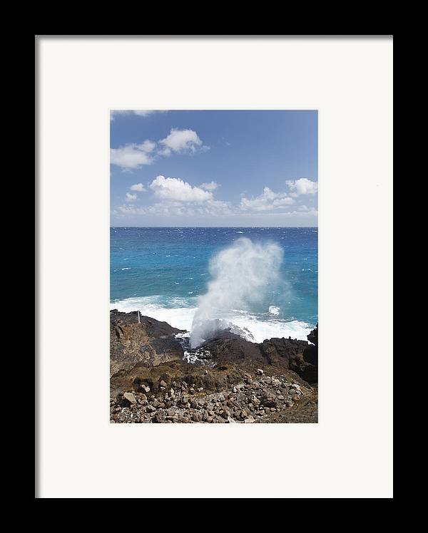 Blow Framed Print featuring the photograph Halona Blowhole by Brandon Tabiolo