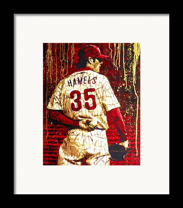 Cole Hamels Framed Print featuring the painting Hamels - The Executioner by Bobby Zeik