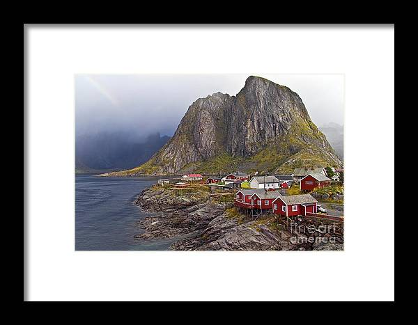 Framed Print featuring the photograph Hamnoy Rorbu Village by Heiko Koehrer-Wagner