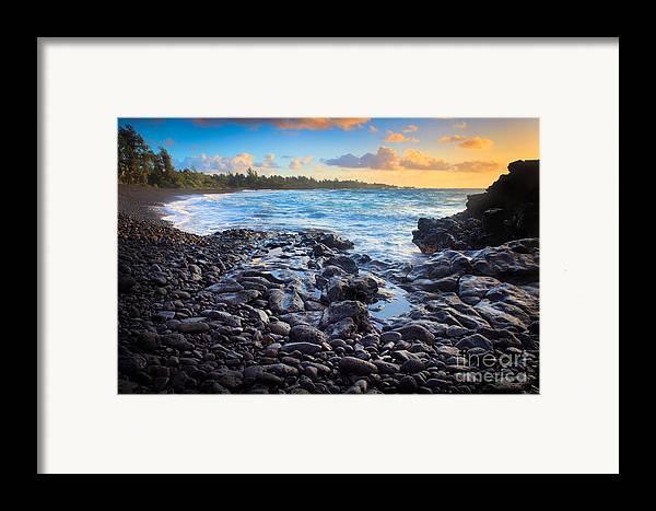 America Framed Print featuring the photograph Hana Bay Sunrise by Inge Johnsson