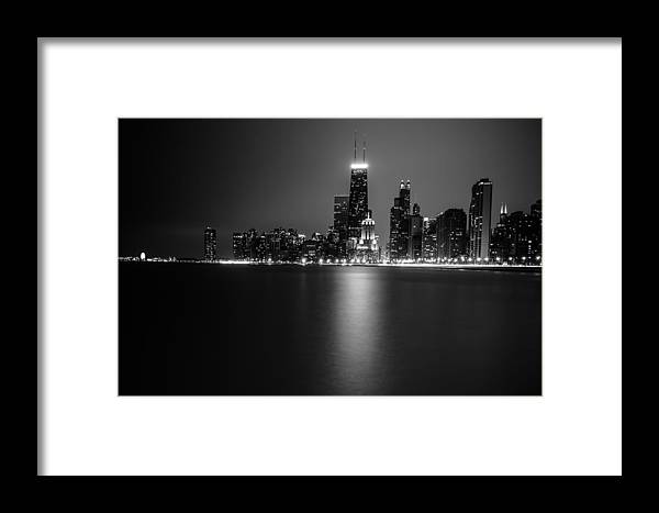 Chicago Framed Print featuring the photograph Hancock Building Reflection From North Ave Beach - Black And White by Anthony Doudt