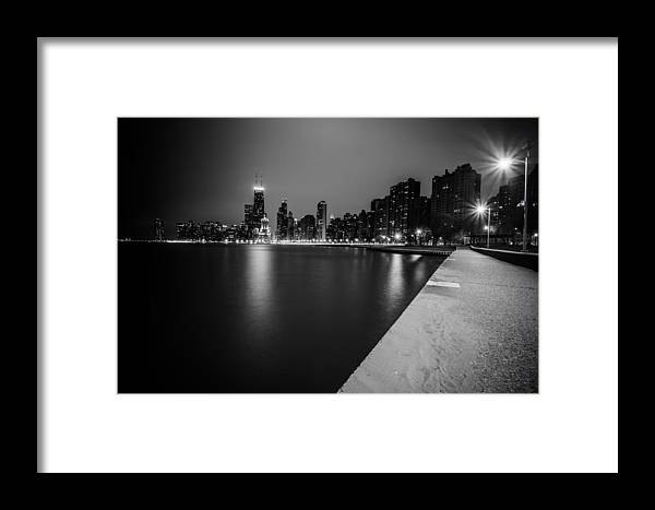 Chicago Framed Print featuring the photograph Hancock Building Reflection With Sidewalk - Black And White by Anthony Doudt