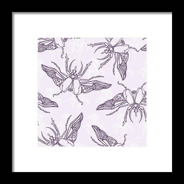 Engraving Framed Print featuring the digital art Hand Drawn Beetles Seamless Pattern by Olga Donskaya