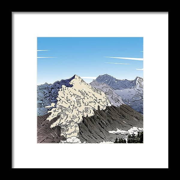 Experience Framed Print featuring the digital art Hand Drawn Mountain Backgrounds, Vector by Romanya