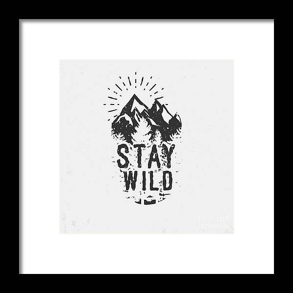 College Framed Print featuring the digital art Hand Drawn Wilderness Quote, Outdoor by Seveniwe
